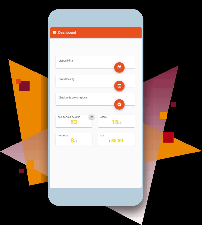HOTELCUBE Mobile Suite dashboard da smartphone